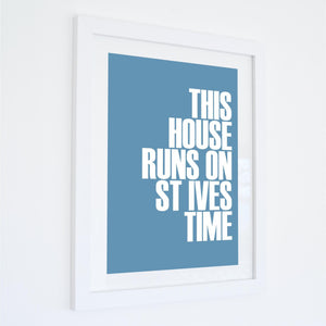 St Ives Time Typographic Travel Print- Coastal Wall Art /Poster-SeaKisses