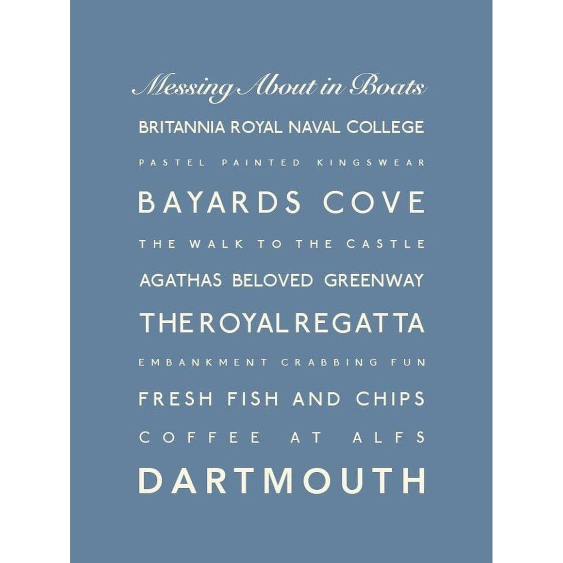 Dartmouth Typographic Travel Print- Coastal Wall Art-SeaKisses