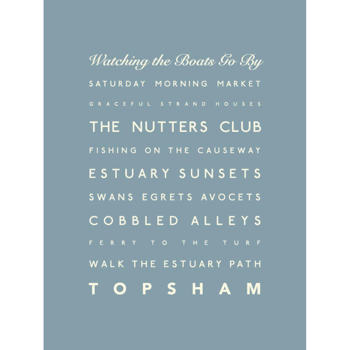 Topsham Typographic Travel and Seaside Print by SeaKisses