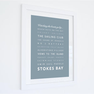 Stokes Bay Typographic Travel Print- Coastal Wall Art /Poster-SeaKisses