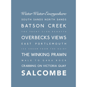 Salcombe Typographic Travel Print- Coastal Wall Art /Poster-SeaKisses