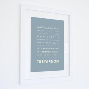 Treyarnon Bay Typographic Travel Print- Coastal Wall Art /Poster-SeaKisses