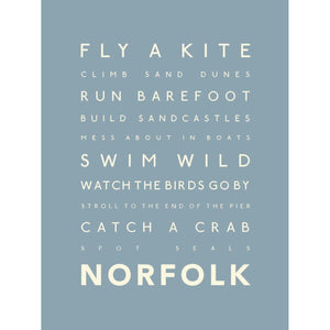 Norfolk Days Typographic Travel Print- Coastal Wall Art-SeaKisses