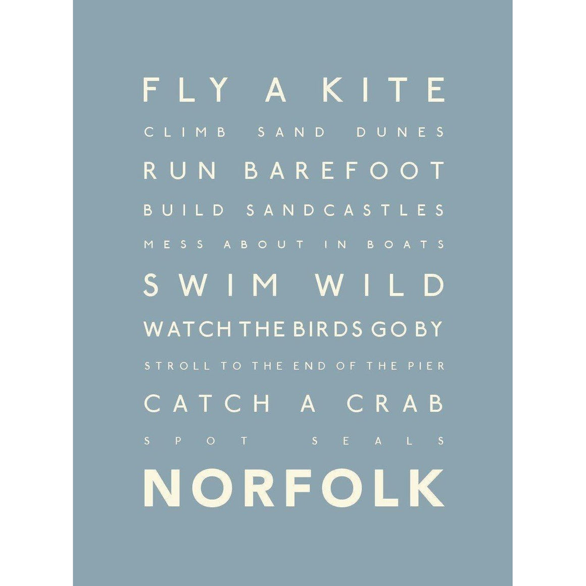 Norfolk Days Typographic Travel Print- Coastal Wall Art