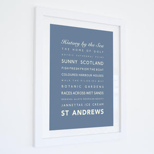 St Andrews Typographic Travel Print- Coastal Wall Art /Poster-SeaKisses