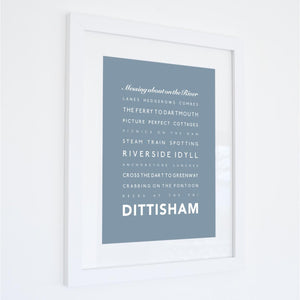 Dittisham Typographic Seaside Print - Coastal Wall Art /Poster-SeaKisses