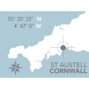 St Austell Nautical Map - Coastal Wall Art /Poster-SeaKisses