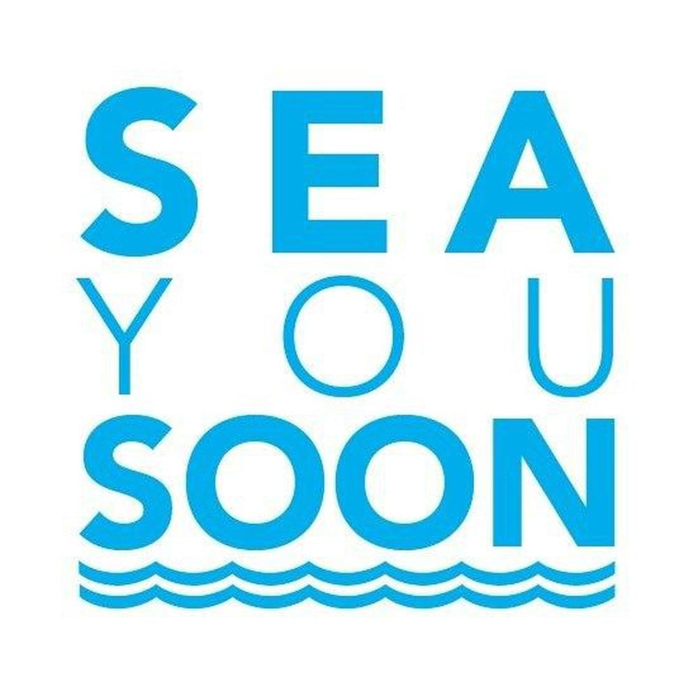 Sea You Soon Coastal Greeting Card Blue and White by SeaKisses