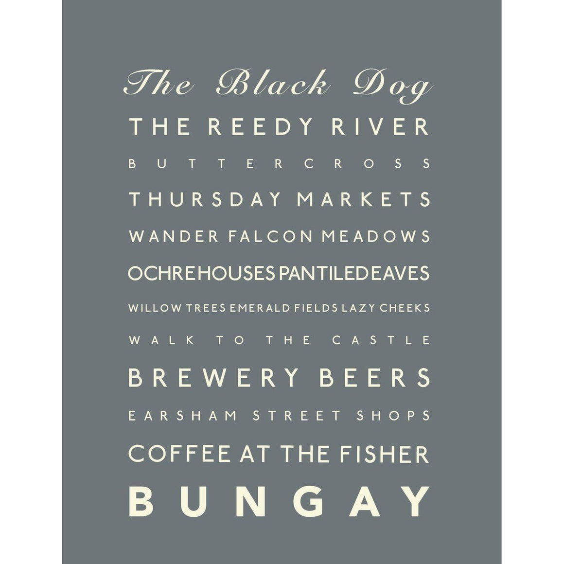 Bungay Typographic Travel Print/Poster Seaside Art by SeaKisses