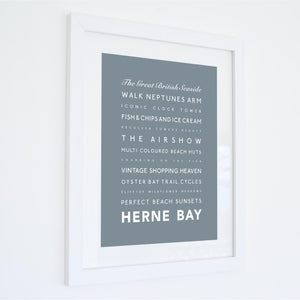 Herne Bay Typographic Seaside Print - Coastal Wall Art /Poster-SeaKisses
