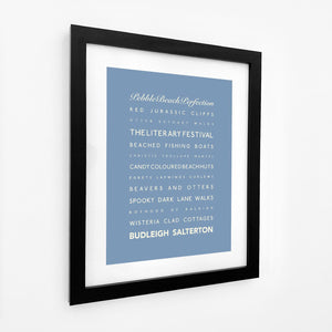 Budleigh Salterton Typographic Travel Print- Coastal Wall Art /Poster-SeaKisses
