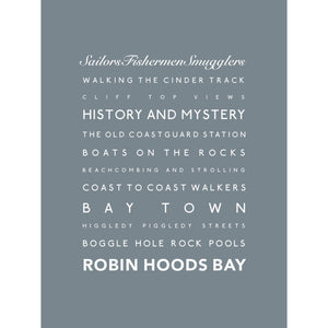 Robin Hoods Bay Typographic Seaside Print - Coastal Wall Art /Poster-SeaKisses