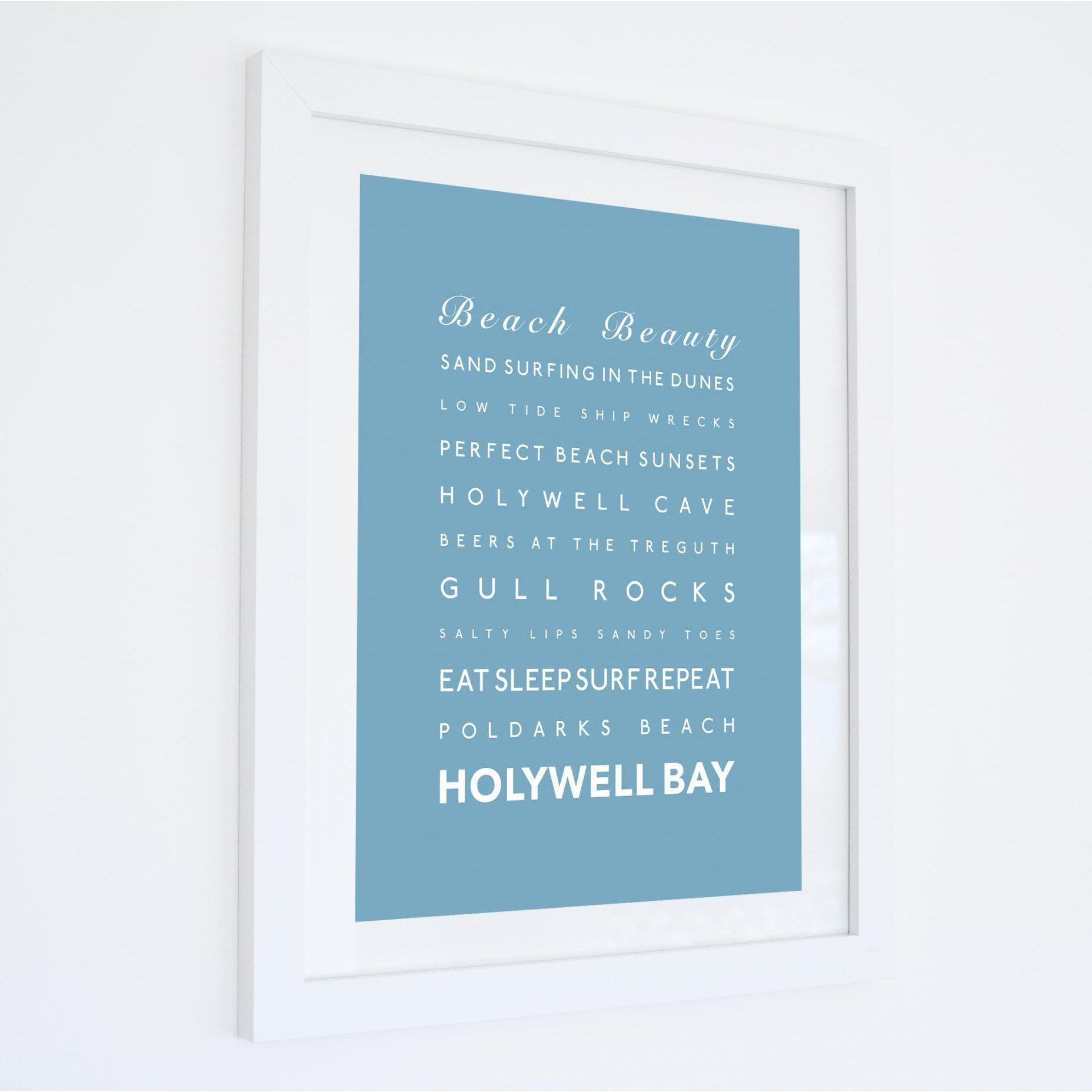 Holywell Bay Typographic Travel Print - Coastal Wall Art /Poster-SeaKisses