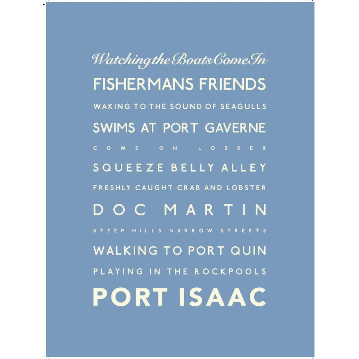Port Isaac Typographic Travel Print- Coastal Wall Art-SeaKisses