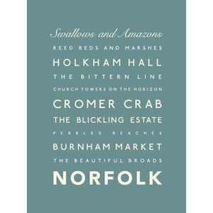 Norfolk Typographic Travel Print- Coastal Wall Art /Poster-SeaKisses