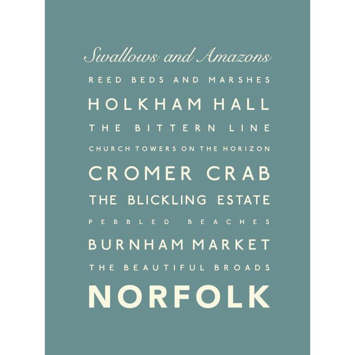 Norfolk Typographic Travel Print- Coastal Wall Art