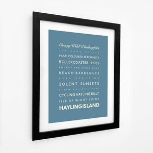 Hayling Island Typographic Travel Print- Coastal Wall Art /Poster-SeaKisses