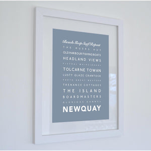 Newquay Typographic Travel Print- Coastal Wall Art /Poster-SeaKisses