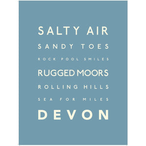 Devon Typographic Travel Print/Poster Seaside Art by SeaKisses