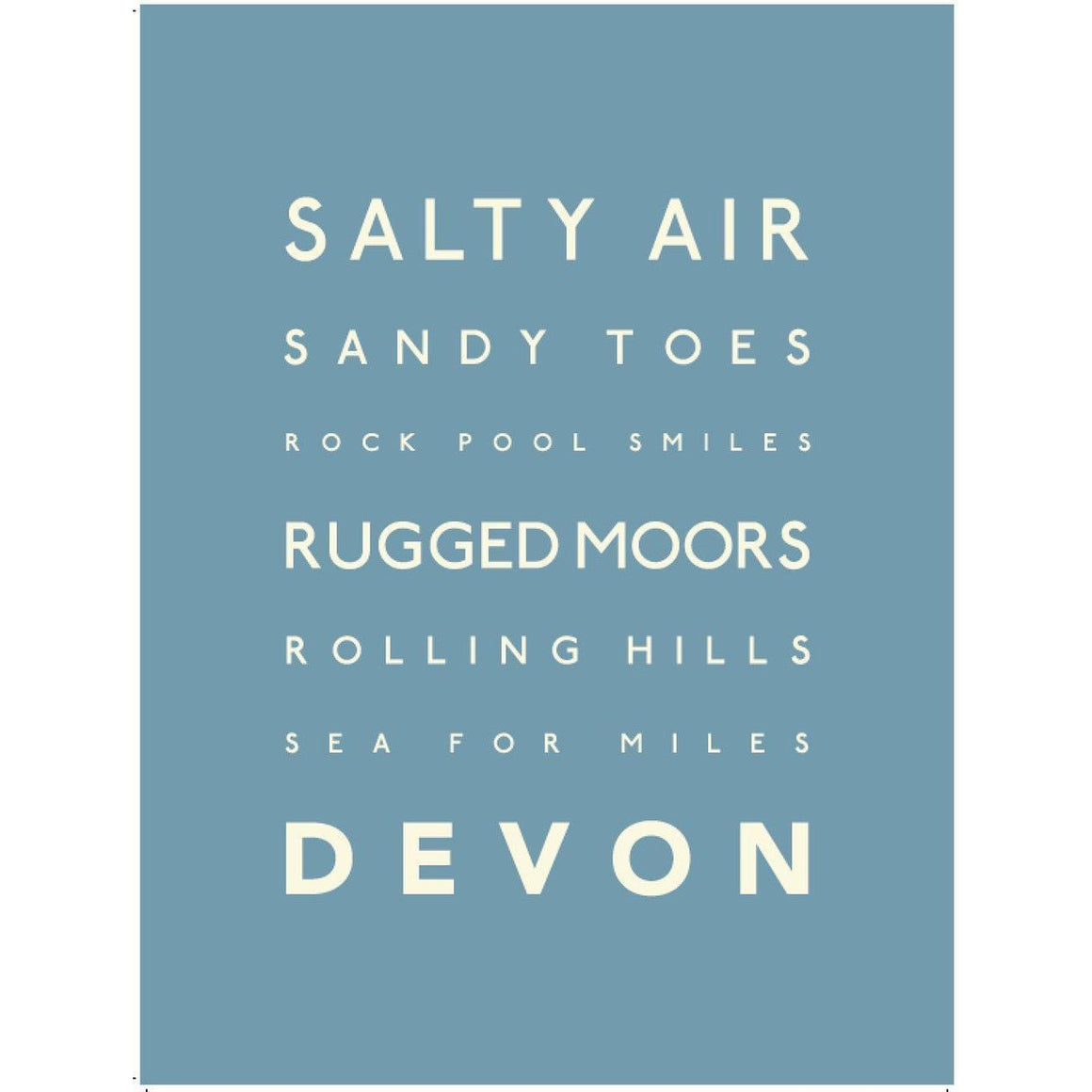 Devon Typographic Travel Print- Coastal Wall Art-SeaKisses