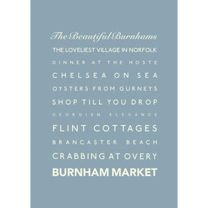 Burnham Market Typographic Travel Print- Coastal Wall Art /Poster-SeaKisses