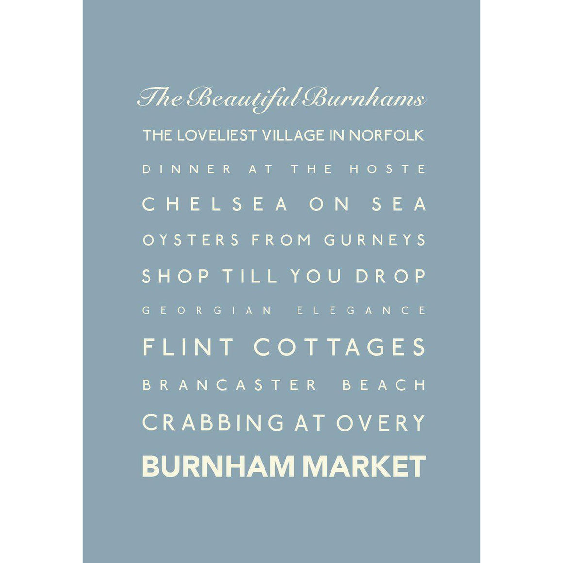 Burnham Market Typographic Travel Print- Coastal Wall Art-SeaKisses