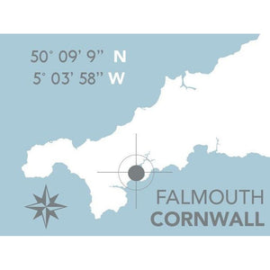 Falmouth Nautical Map Print - Coastal Wall Art /Poster-SeaKisses