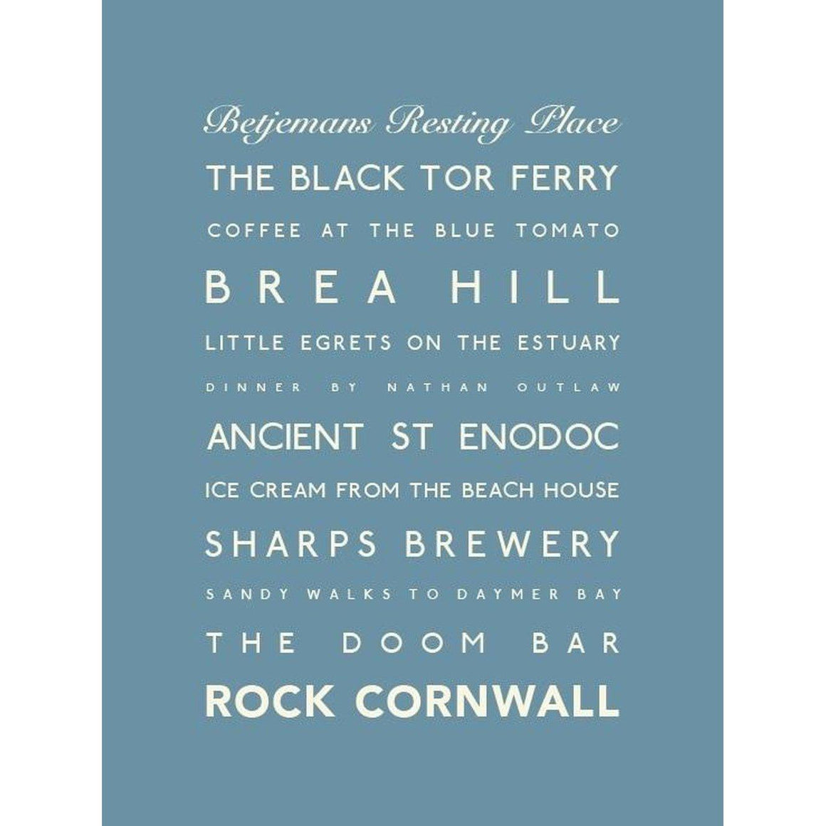 Rock Typographic Travel Print- Coastal Wall Art-SeaKisses