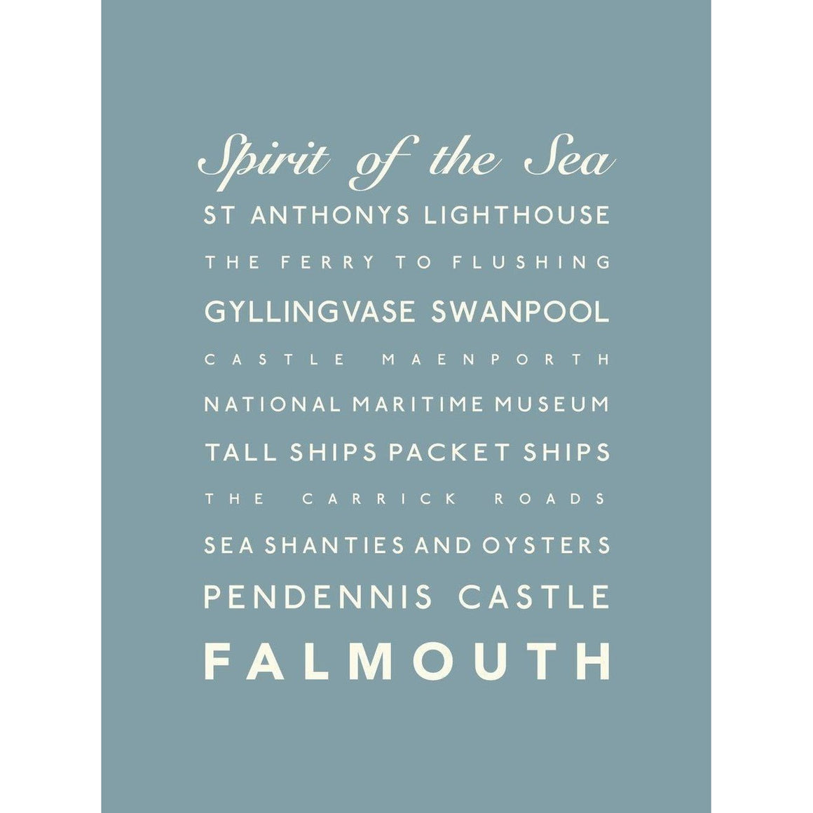Falmouth Typographic Travel Print- Coastal Wall Art /Poster-SeaKisses