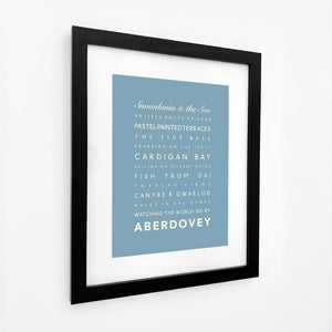 Aberdovey Typographic Seaside Print - Coastal Wall Art /Poster-SeaKisses