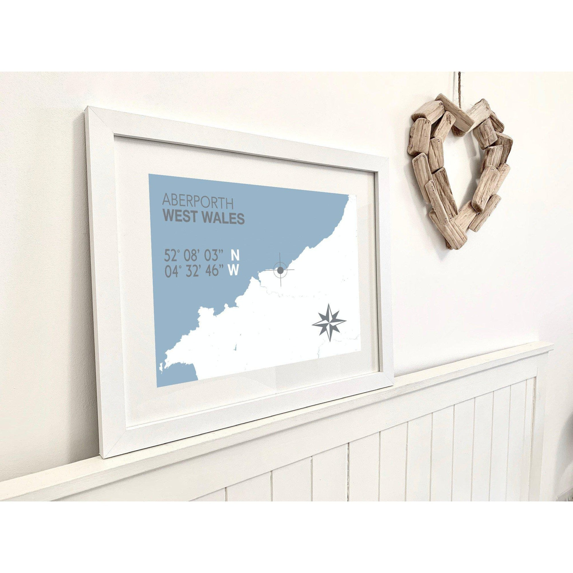 Aberporth Nautical Map Seaside Print - Coastal Wall Art /Poster-SeaKisses