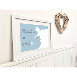 Abersoch Nautical Map Seaside Print - Coastal Wall Art /Poster-SeaKisses
