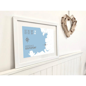 Ainsdale Map Travel Seaside Print - Coastal Wall Art /Poster-SeaKisses