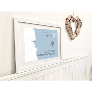 Alnmouth Map Travel Print- Coastal Wall Art /Poster-SeaKisses