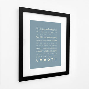 Amroth Typographic Seaside Print - Coastal Wall Art /Poster-SeaKisses