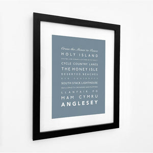 Anglesey Typographic Travel Print- Coastal Wall Art /Poster-SeaKisses