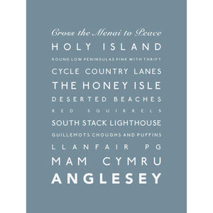 Anglesey Typographic Travel Print- Coastal Wall Art-SeaKisses