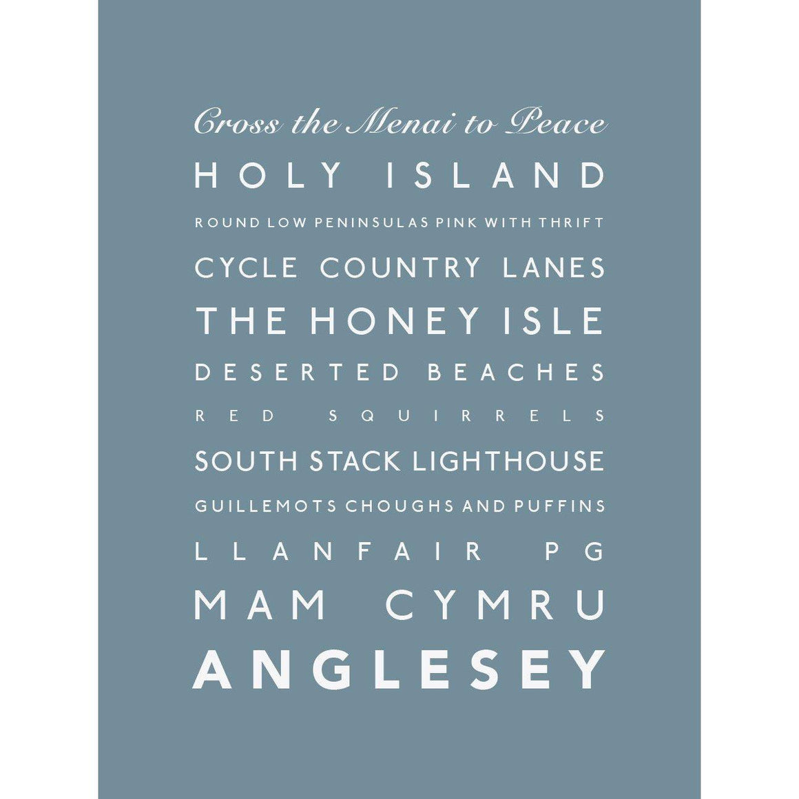 Anglesey Typographic Travel Print- Coastal Wall Art