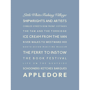 Appledore Typographic Travel Print/Poster Coastal Wall Art by SeaKisses
