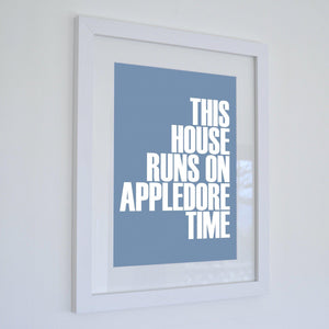 Appledore Time Typographic Print/Poster - Framed