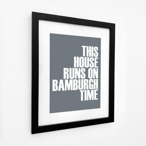 Bamburgh Time Typographic Print- Coastal Wall Art /Poster-SeaKisses