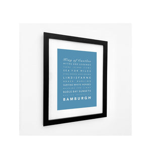 Bamburgh Typographic Travel Print- Coastal Wall Art /Poster-SeaKisses