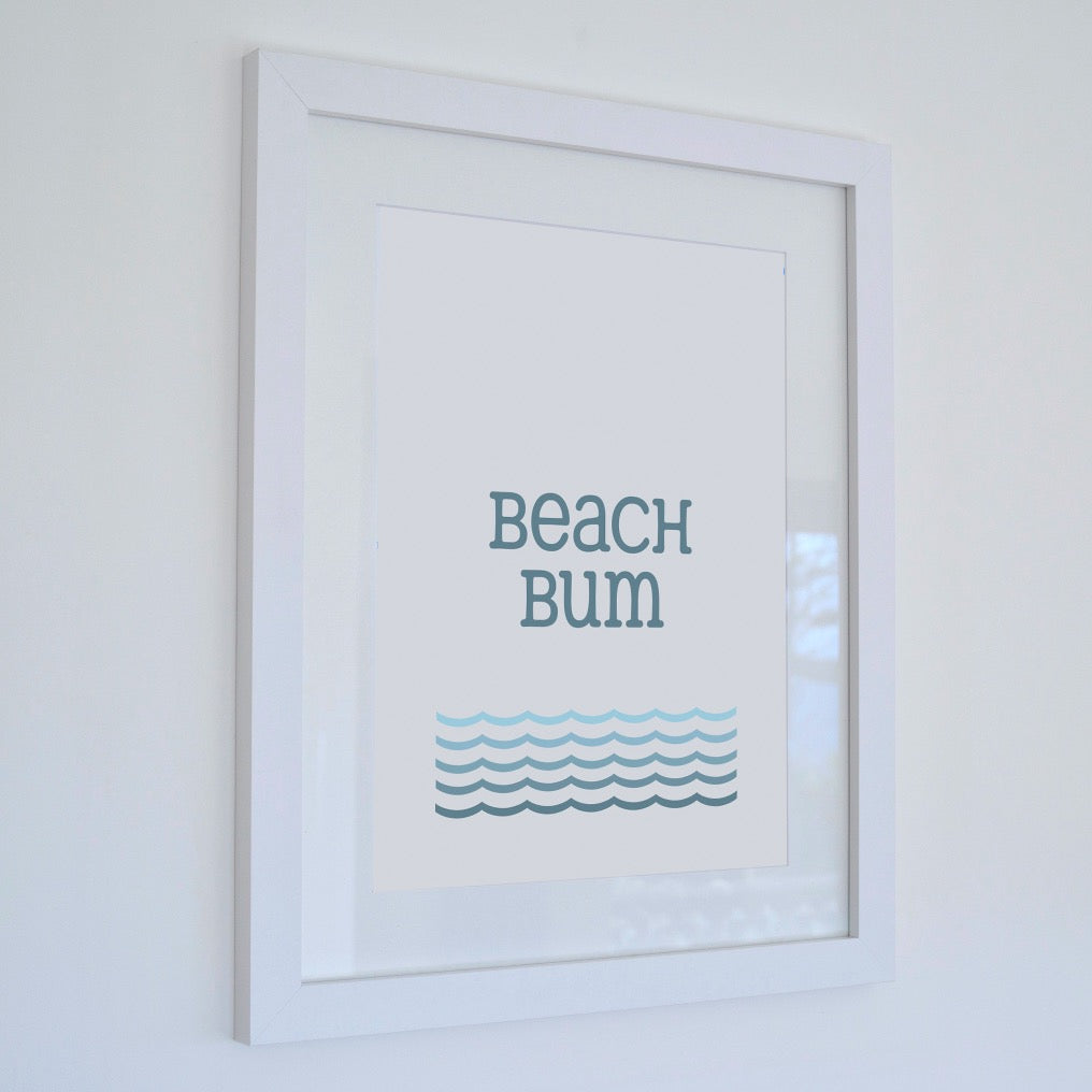 Beach Bum Typographic Print - Coastal Wall Art /Poster-SeaKisses