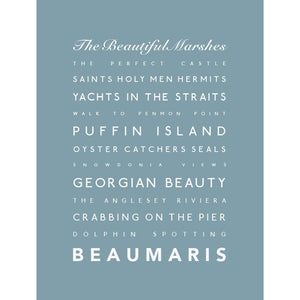 Beaumaris Typographic Travel Print- Coastal Wall Art-SeaKisses