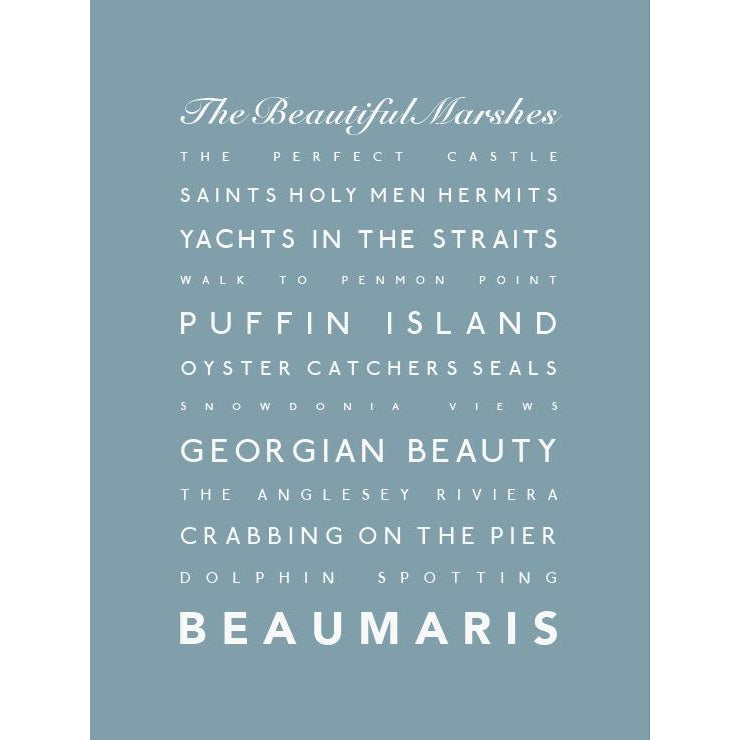 Beaumaris Typographic Travel Print/Poster Coastal Wall Art by SeaKisses