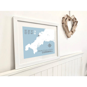 Bedruthan Steps Map Travel Print- Coastal Wall Art /Poster-SeaKisses