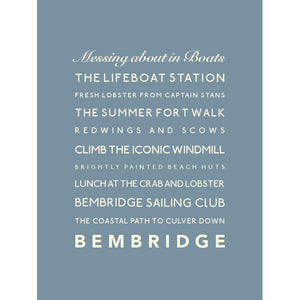 Bembridge Typographic Travel Print/Poster Coastal Wall Art by SeaKisses