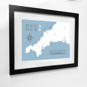 Boscastle Map Travel Print- Coastal Wall Art /Poster-SeaKisses