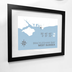 Bracklesham Bay Map Travel Print- Coastal Wall Art /Poster-SeaKisses