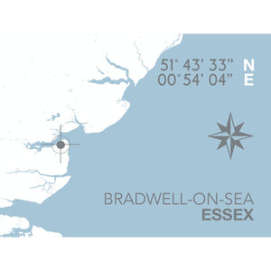 Bradwell-On-Sea Map Travel Print- Coastal Wall Art /Poster-SeaKisses